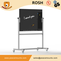 Factory sale China mobile tempered magnetic glass whiteboard with stand for classrooms