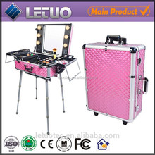 Discount lighiting new design vanity case aluminum makeup case with legs cosmetic bags cases