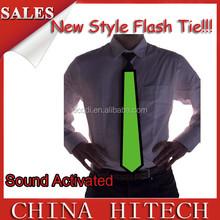 wholesale light up christmas tie electrical sound activated el necktie