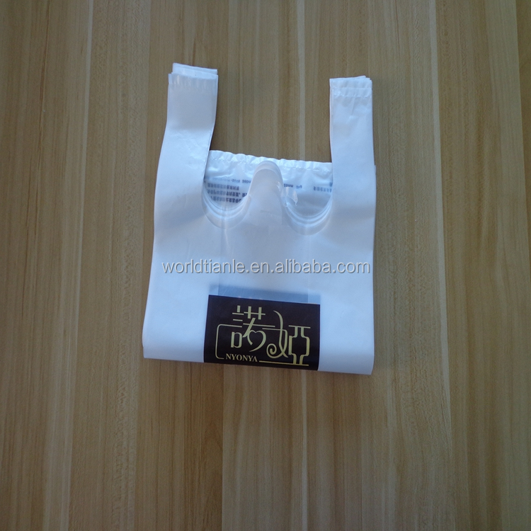 Hdpe transparent with custom printed shopping plastic t for Custom plastic t shirt bags