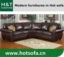 Italian style living room furniture leather sofa set with gold stud T680 Corner