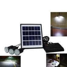 4W Solar Panel Charger Home System Kit 5V 3 LED Light USB Garden Camping Outdoor