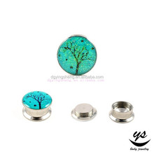 2015 hot sale ear flesh plug body piercing with picture inlay