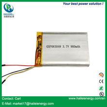 Direct factory high quality 3.7v 900mah li-ion battery