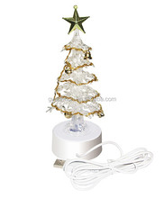 New Design! Lighted Fiber Optic Mini Christmas Trees With Mental Star and oranments