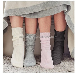 2014 fashion accessories rib knitted adults pure cashmere socks for man