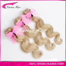 wholesale good quality remy tangle free human hair weft hair extensions white blonde hair