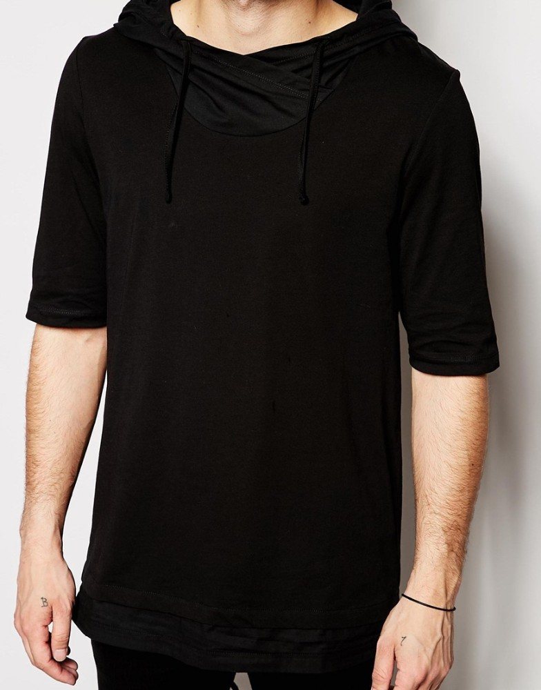 Mens Extra Long T Shirts Hood T Shirt With Fishtail In