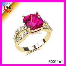 New Model New Designer Synthetic Gold Ruby Finger Women's Gold-Plated Rings