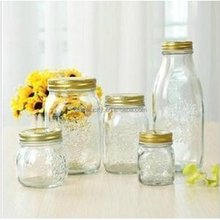 embossment glass mason jar with screen print golden lid for jam