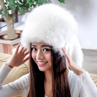 Fashion Faux Fur Ear Earflap Hat Womens Beret Flat Cap w/Tail Beanie Trapper Hat