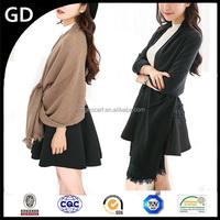 GDK0121 Solid color women pashmina shawl with macrame blanket fringe oversize scarf