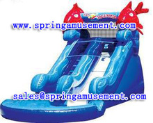 Red Fish Commercial used inflatable water slide inflatable swimming pool slide on sale sp-ps028