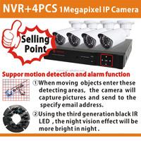 720P IP CCTV System 4CH NVR KIT 4PCS 1 megapixel IR Weatherproof Outdoor CCTV Camera Home Security System Surveillance Kits