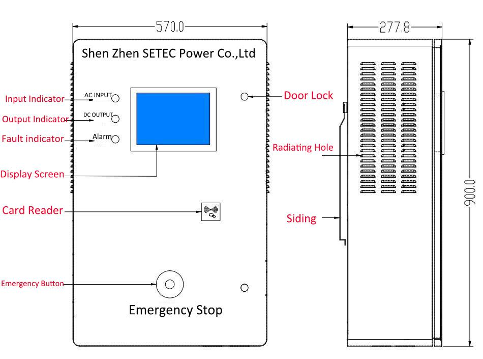 Setec 20kw Ac  Dc Ev Public Fast Electric Car Charging