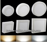 CE ROHS 6W 12W 18W warm white pure white Round Square Shape Surface mounted LED panel lights