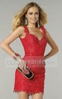 S1153 Red straps v neck sleeveless beading short lace cocktail dress