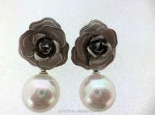 Best selling customized alloy rose super fancy stud earring