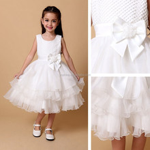 2015 High Quality White Ruffle Sleeveless Summer Vest Fashion Girls Party Dress With Handmade Bead Flower Girl Dresses Ball Gown