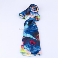Hot sell ! Fashion Women's Satin Plum flower Oil Painting Long Wrap Shawl Beach Silk Scarf