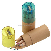 CE certificated premimum children set color pencil hexagon color pencil packing in paper tube with sharpener top