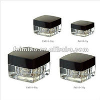 square acrylic cream jars with injection inner body and screw cap for facial cream