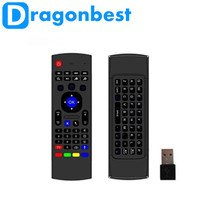 New MX3 Air Mouse with Keyboard Groscope Voice 6-Aixs Intertia Sensors 2.4G Somatosensory Remote Control Built in Microphone