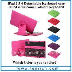 LBK115 Wireless Bluetooth Keyboard+360 Swivel / Rotatable Rubberized Case with Stand for ipad 2 3 4 new with Retail Box