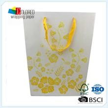 Custom Gold Flower Printed Shopping Paper Bag For OEM