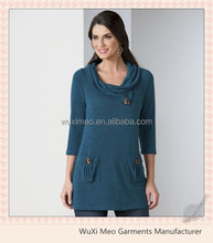women's fashion elegant three quarter sleeves crochet blouse