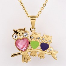 Yiwu Aceon Stainless Steel Gold Plated Colorful Heart Animal Fashion Owl Pendant