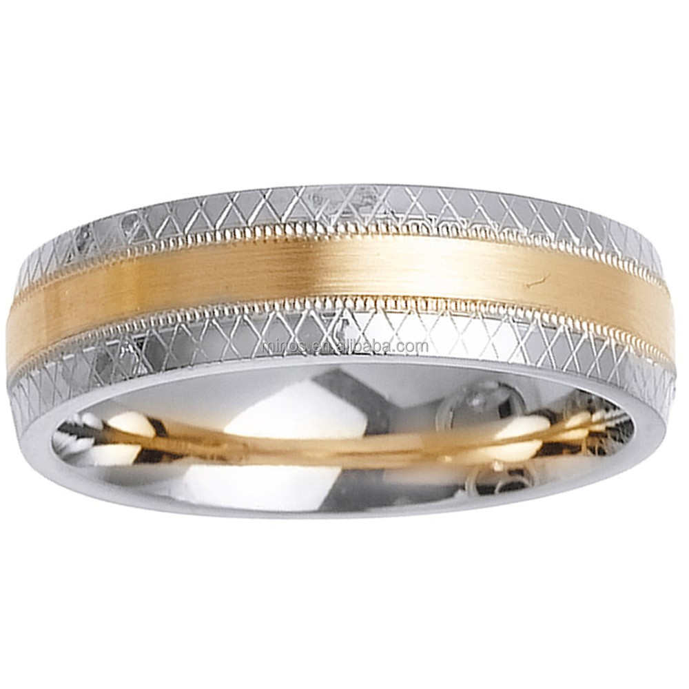 Gold Mens Argyle Wedding Band Ring 14k Two Tone Men Rings For Wedding