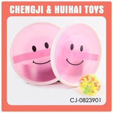Funny solid colour plastic suction cup ball toy with light