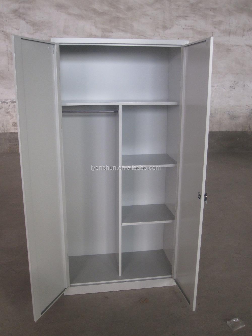 2 door steel cloth cabinet wardrobe metal closet clothes for Cloth cabinet design