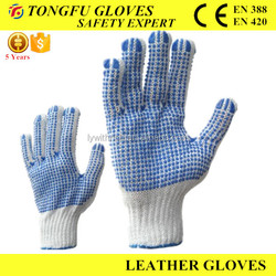 Hot Sale Cotton Lining PVC Dots Working Gloves /Safety Gloves CE