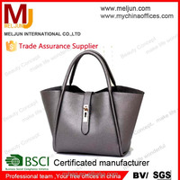 2015 new female bag , gray pu leather handbags , big contracted wind restoring ancient ways shoulder bag