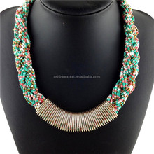 Turkish Indian design Fashion statement boho necklace braided multi-layer seed beads and gold alloy tube chain necklace