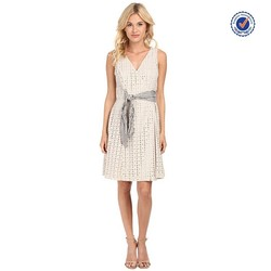 Sleeveless fit and flare women eyelet wrap cotton midi dresses with striped belt