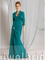 S1231 Elegant sweetheart ruffle jacket satin peacock mother of the bride dress 2012