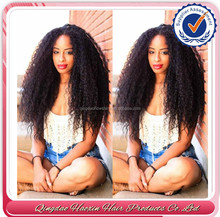 Large Stock Wholesale Factory Price afro kinky curly virgin human hair peruvian full lace wig