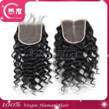 Hot selling best quality AAAAAA virgin brazilian straight 4x4 silk top closure pieces deep curl free parting lace closure