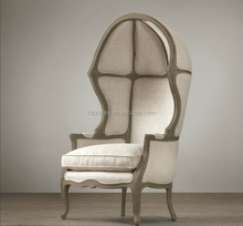 French provincial vintage wooden egg chair /french classical wooden frame canopy half dome chair