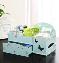 Multifunctions desktop DIY wooden cosmetic box with drawer/jewelry box/tissue box