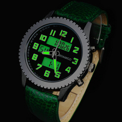 watches men luxury brand BOAMIGO sports military Dual Time Quartz Analog Digital LED leather strap wristwatches relogio homem