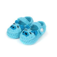 cute cartoon pig crochet baby shoes,yellow-green color handmade baby shoes crochet flowes NO.MXXPS0232