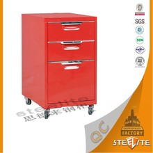 Freestanding Furniture Design Stainless Steel Movable Drawer Cabinet Metal Cupboard