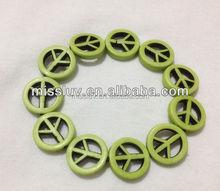turquoise peace sign skull cross star stone bead bracelets jewelry