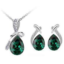 Kedatangan baru zamrud hijau merek pengantin pengantin 18 K Platinum berlapis air mata setetes liontin anting kalung perhiasan