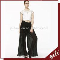 Hot sell solid chiffon women palazzo pants