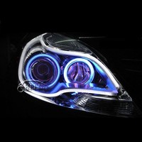 Universal 2x60cm White+Amber LED DRL Flexible Headlight Head lamp Switchback Strip Tube Running Lights